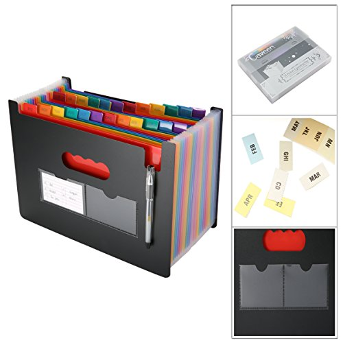 Caveen 24 Pockets Expanding Files Large Capacity A4 Size Colorful File Organizer Plastic Stand Expandable Portable Accordion Folder Business File/Home Paper Organizer Bag