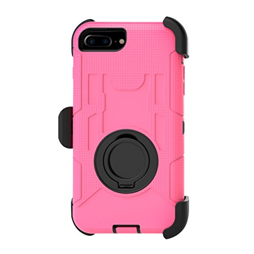 Carcasa para iPhone 8 Plus y 7 Plus (incluye soporte giratorio de 360 grados), color rosa