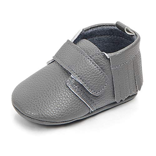 Antheron Infant Moccasins - Unisex Baby Girls Boys Tassels Soft Sole Toddler First Walker Newborn Crib Shoes(Grey,12-18 Months)