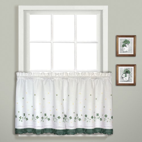 Curtains Tier Gingham - United Curtain Gingham Embroidered Kitchen Tiers, 60 by 24-Inch, Green, Set of 2