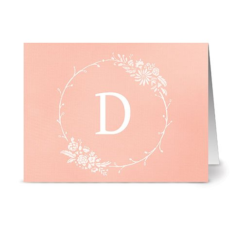 floral-monogram-d-coral-24-cards-blank-cards-w-grey-envelopes-included