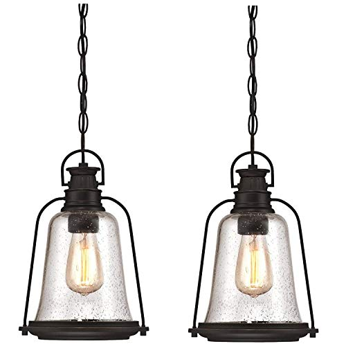 Westinghouse Lighting One-Light Outdoor Lighting,Oil Rubbed Bronze Finish with Highlights and Clear Seeded Glass (Outdoor Pendant - 2 - Finish Outdoor
