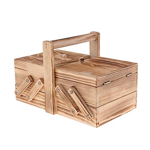- Flameer Vintage Cantilever Sewing Basket for Crafts DIY Tools Practical Wooden Box