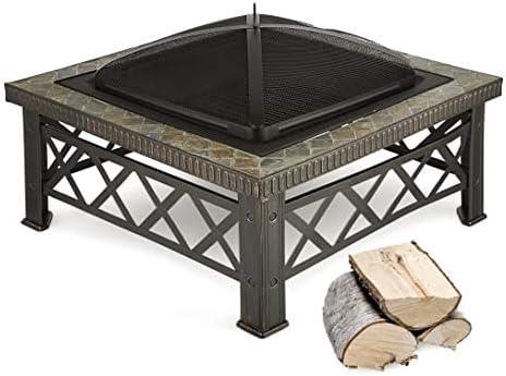 blumfeldt Merano Feuerschale Grillrost Kachel-Design Stahl 75x75 cm geschw/ärzt
