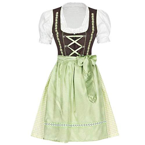 LENXH Vintage Dress Ladies Dress Stitching Dress Fashion Skirt Casual Short Sleeve Dress Bow Dress Green