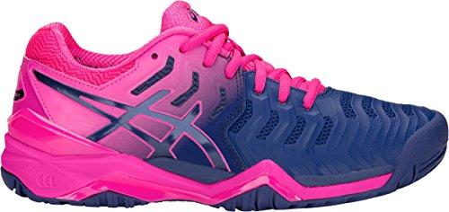asics Women's Gel-Resolution 7 Tennis Shoes, Pink/Blue, Size 7.5