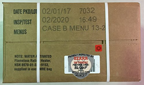 MRE 2020 Inspection Date Case, 24 Meals with 2020 Inspection Date, 2017 Pack Date A and B Case. Military Surplus Meal Ready to Eat. by Ozark Outdoorz, LLC (Image #1)