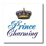pics of prince - 3dRose ht_112875_1 Prince Charming Royal Blue Cursive Script Text with Gold Crown-Iron on Heat Transfer for White Material, 8 by 8-Inch