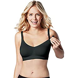 BRAVADO! DESIGNS Women's Body Silk Seamless Nursing Bra and Maternity Bra,Black,Large