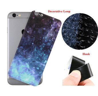"Easy Attached Hook & Loop Universal Mounting System - KIUKIU Cell Phone Holder Magic Tape Decorative Skin Decal with Invisible Velcro Stand Function for Apple 4.7"" iPhone 6 / iPhone 6s (Star)"