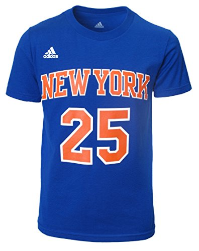 Adidas Rose Logo T-shirt - NBA New York Knicks Derrick Rose Boys 8-20 Road Blue Game Time Name & Number T-Shirt
