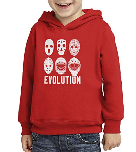 Evolution of Hockey Mask - Goalie Toddler/Youth Fleece Hoodie (Red, X-Large (Youth))