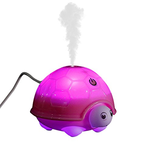 Showin USB Humidifier Ultrasonic Aroma Humidifier Portable Cartoon Tortoise Shape 160ml Aromatherapy Diffuser with 7 Color Changing LED Lamps (USB Cable ) (Pink)