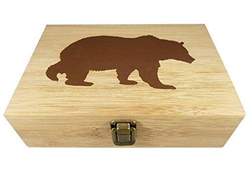 Bamboo Wood Hinged Cigar Storage Stash Box -8.5 x 6 x 2.5 Inches (Bear) by Stash & Stuff (Image #5)