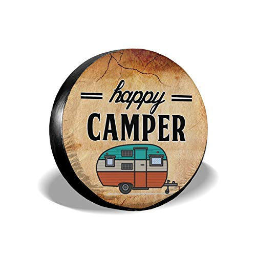 (NELife Tire Cover Happy Camper Camping Potable Polyester Universal Spare Wheel Tire Cover Wheel Covers for Jeep Trailer RV SUV Truck Camper Travel Trailer Accessories(14,15,16,17 Inch))