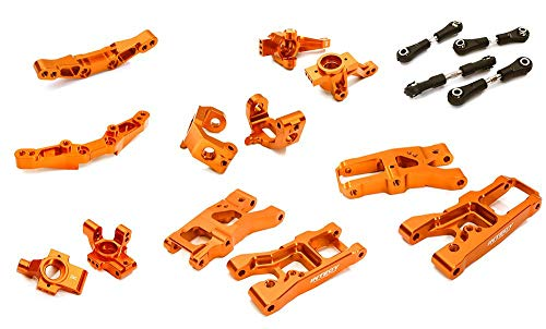 Integy RC Model Hop-ups C28347ORANGE Billet Machined Suspension Kit Conversion for Traxxas 1/10 4-Tec 2.0