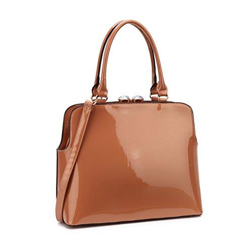 MKP Collection Designer Shoulder handbag~Satchel for Woman~Top Purse for lady (7525) (Brown Patent Faux Leather)