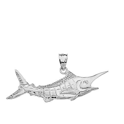 Sterling Silver Marlin - Polished 925 Sterling Silver Billfish Black Marlin Pendant