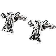 Aooaz Cufflinks for Men Stainless Steel Cuffs Zodiac Signs Virgo Silver Black 1.2X1.7CM Silver Black