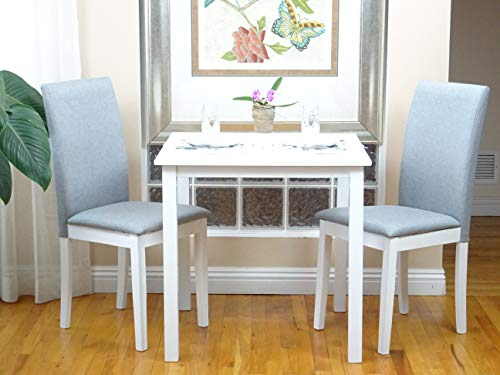 Rattan Wicker Furniture 3 Pc Dining Kitchen Set Classic Square Table and 2 Chairs Fallabella Classic Style Solid Wood in White Finish (Dining Table Classic White)