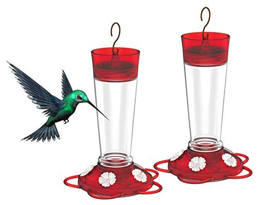 More Birds Ruby Hummingbird Feeder, 10-Ounce Capacity, 5 Ports (Ruby Red - 2 ()
