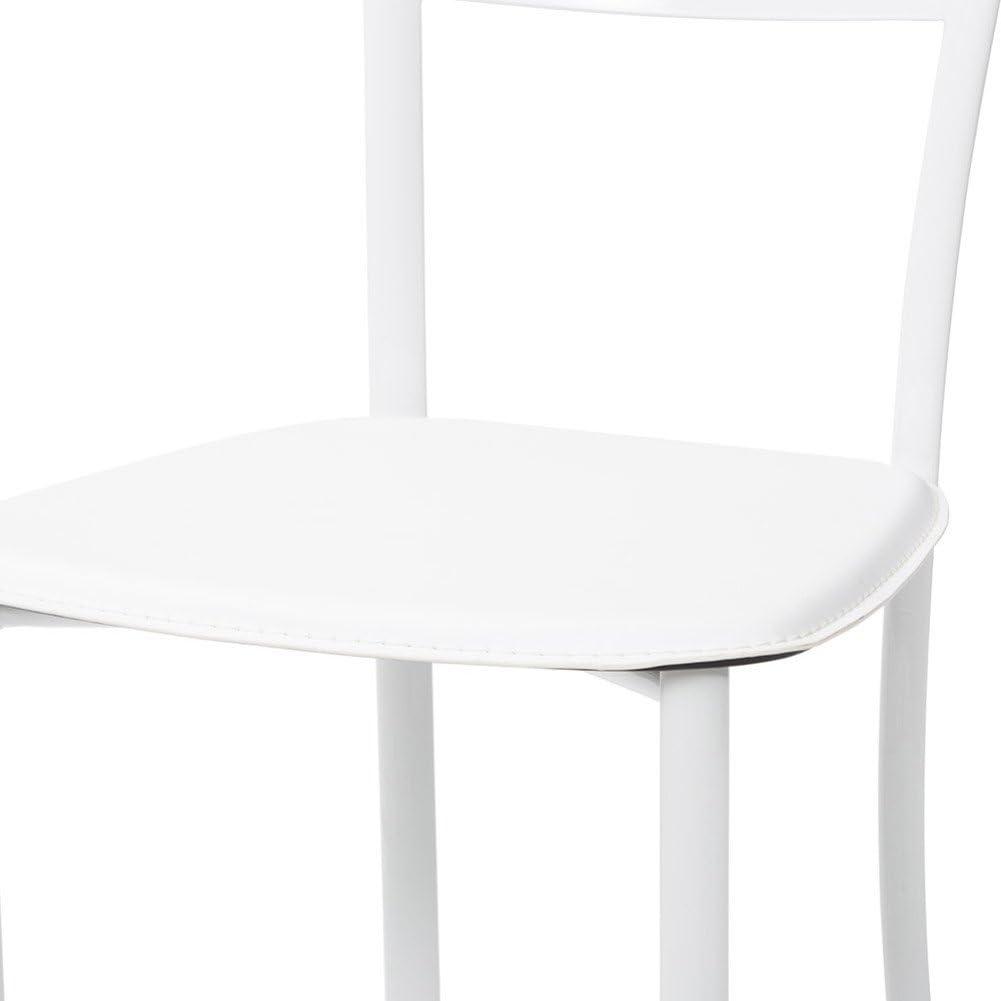 Cribel Bibi Set Sedia, Ecopelle, Metallo Laccato, 4 Pezzi, Bianco