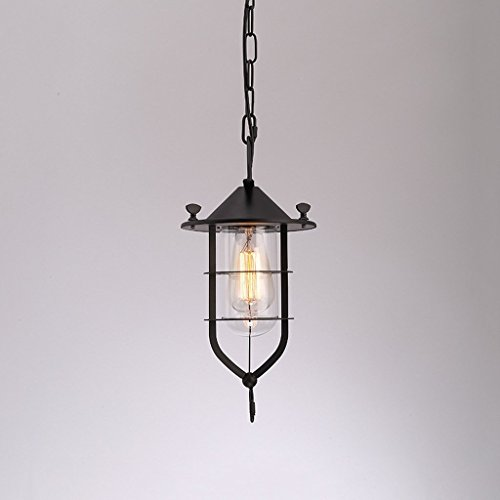 DIDIDD Loft industrial wind chandelier living room restaurant ceiling pendant light glass cover ,American style retro bar net coffee clothing storeblack