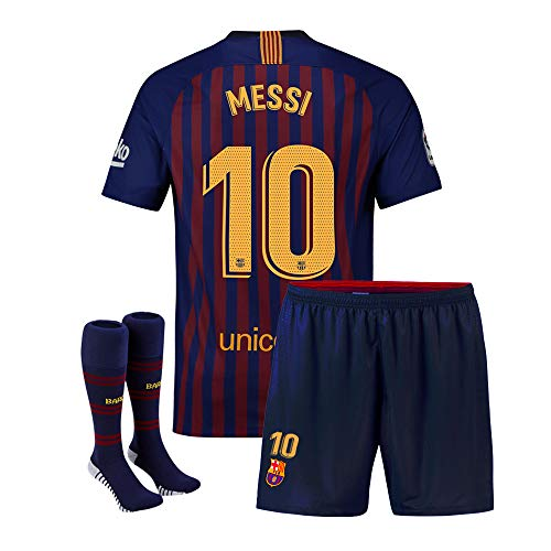 de9ff5f971e Amazon.com : Eyibv Youth Messi Jersey 10 Barcelona Kids 2018-2019 Home Boys  Soccer Shorts Socks : Sports & Outdoors