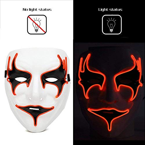 Auwer Halloween Rave Mask Vampire Mask Light Up EL Wire LED Mask for Masquerade Festival Party DJ Cosplay Costume -