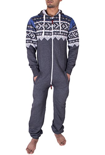 Suit Onesie Mens (NOROZE Mens Hoodie Jumpsuit Onesie One Piece Pajamas (X-Large, Aztec Charcoal))