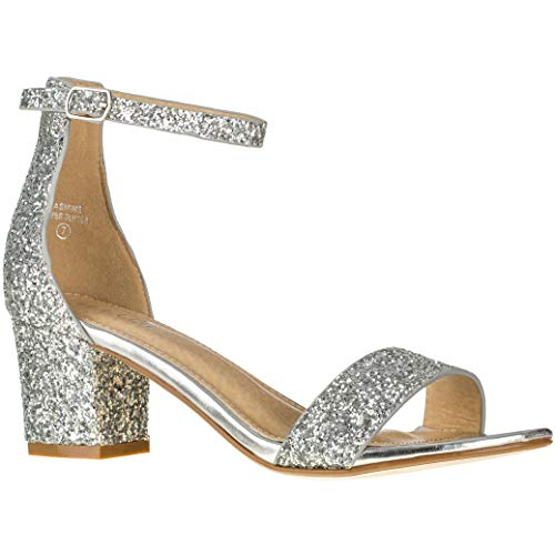- Women's Fashion Ankle Strap Kitten Heel Sandals - Adorable Cute Low Block Heel - Jasmine (9 M US, Silver Glitter)