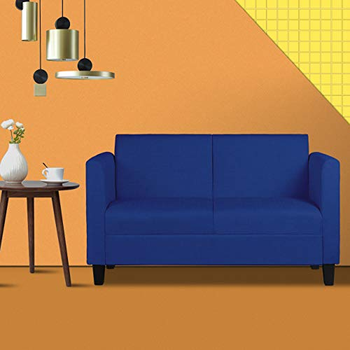 (Mid-Century Modern Upholstered Fabric Loveseat Sofa/Couch, 2-seat Loveseats Suitable for Small Spaces (Dark Blue 1110) )