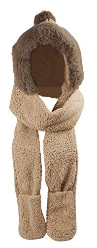 (Bellady Winter Warm Women Hoodie Gloves Pocket Earflap Hat Long Scarf Shawl,Pom Pom_Camel)