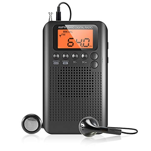 Volador Portable AM FM Radio, Digital Tuning Stereo Personal Transistor Radio, Battery Operated Pocket Radio with Earbuds for Walking/Running/Jogging/Gym/Travel