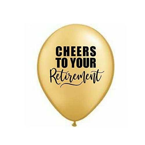 Cheers to Your Retirement, Gold Retirement Balloons, Retirement Party Balloons, Retirement Decor, Set of 3, Retirement Party Decorations, Gold Balloons ()