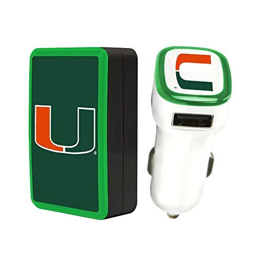 Quickvolt Miami Hurricanes Wall Charger/Car Charger Pack (Hurricanes Phone Charger Miami)