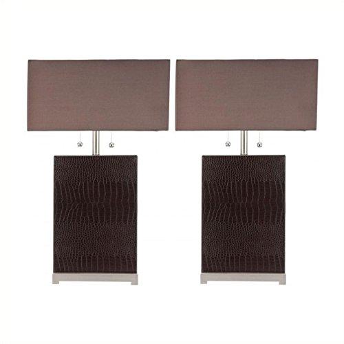 Safavieh Sofia Leather Table Lamp with Silk Chocolate Shade (Set of 2)