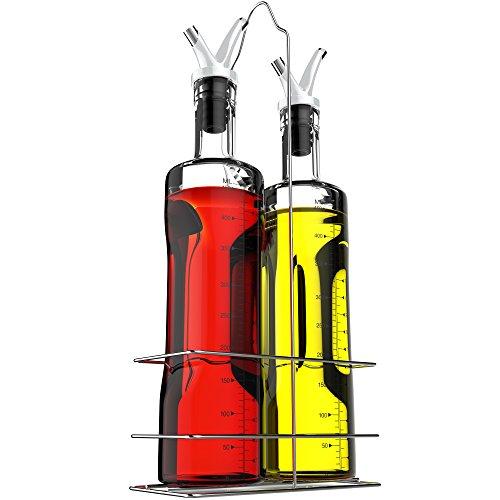 Vremi - Juego de dispensadores de aceites de oliva y vinagre de vidrio transparente para cocinar sin goteo con tapones de...