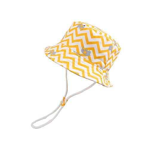 JANGANNSA Baby Boys Dinosaur Hat Cotton Print Summer Cap Boys Wide Brim with Chin Strap (Yellow Elephant, S)