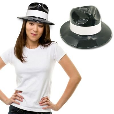 [Black Plastic with White Band Gangster Hat Fedoras 12 Pack] (Fedora Gangster Hat)