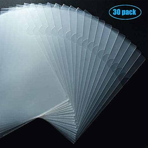 Foroffice 30 Pack Clear Document Folder Copy Safe Project Pocket US Letter/ A4 Size in Transparent Color