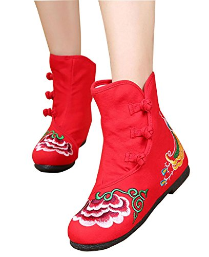 mujeres Ladies Nuevas Boots Shoes Casual Single bordadas red negro Retro rojo dq4A4Iw
