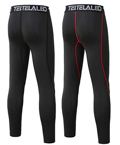 c1775f7204 TELALEO Boys' Youth Compression Base Layer Pants Tight Running Leggings  Trousers-2Pcs-XS