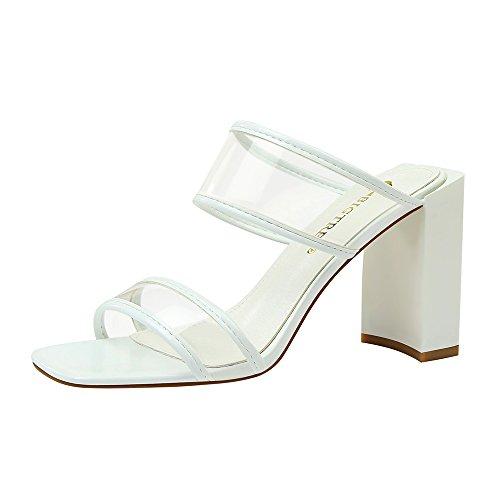 Y Simple Sandalias Transparente Punta Tacón Blanco Zapatillas Moda Abierta Mujer Cinta De Zapatos Cuadrado Alto 7Z4xfqf