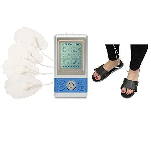 Best 6 Modes Portable Mini Body Massager Great Massage Flip Flops for Diabetic Nerve Pain+Massage Slipper Shoes for Bunions and Swollen Feet HealthmateForever BM6GL (Blue) LIFETIME WARRANTY FDA CLEARED (Iq Massager Mini Ii)