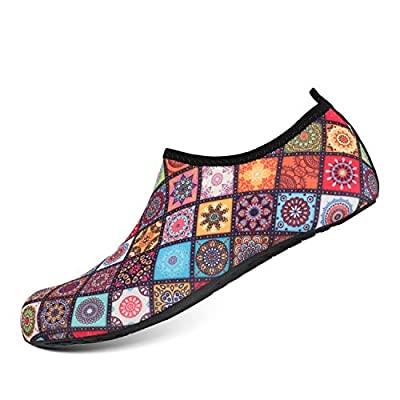 HEETA Water Sports Shoes for Women Men Quick Dry Aqua Socks Swim Barefoot Shoes for Beach Pool Surf Swim Yoga Flower M