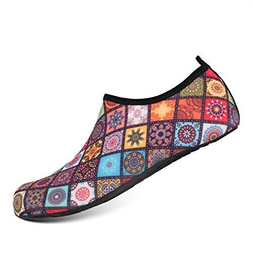 HEETA Water Sports Shoes for Women Men Quick Dry Aqua Socks Swim Barefoot Shoes for Beach Pool Surf Swim Yoga Flower XL