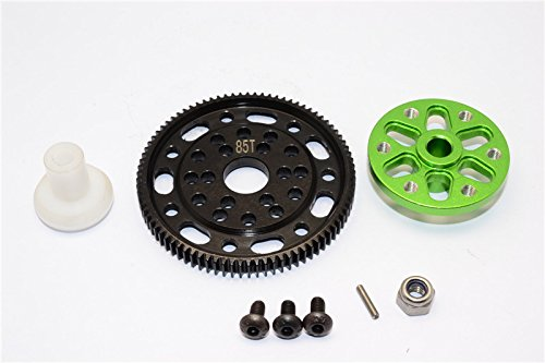 (Axial SCX10 & Wraith Upgrade Parts Steel #45 Spur Gear 48 Pitch 85T + Aluminium Spur Gear Adapter - 1 Set Green)
