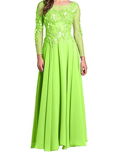 Rosa Lemon Charmant Damen Gruen Festlichkleider Promkleider Abschlussballkleider Abendkleider Brautmutterkleider Langarm aaP5nwq8