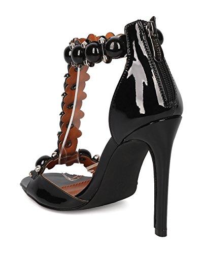 Cape Robbin Women Patent T-strap Stiletto Sandaal - Chic, Feestje, Formele - Bezaaid Naaldhak - Ge30 By Black
